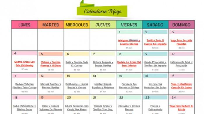 Calendario fitness mayo