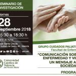 """Viernes 28 de Septiembre: Seminario Cuidados Paliativos, """"Comunicación sobre enfermedad y vida: un mensaje a la sociedad."""""""