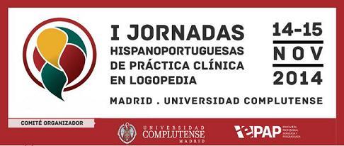 Logotipo de las I Jornadas Hispanoportuguesas de Práctica Clínica en Logopedia