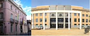 A la izquierda el Palacio de Colomina, a la derecha el Campus Alfara – Moncada