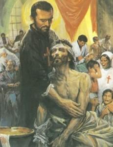 San Camilo atendiendo a un soldado