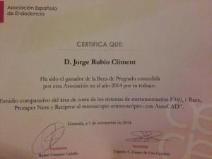 Beca de Pregado concedida a Jorge Rubio en aede 2014