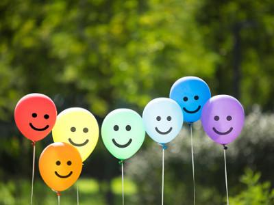 joyful balloon family.