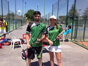 Pablo Comins y Marta Silla antes de disputar los partidos de dobles mixtos.