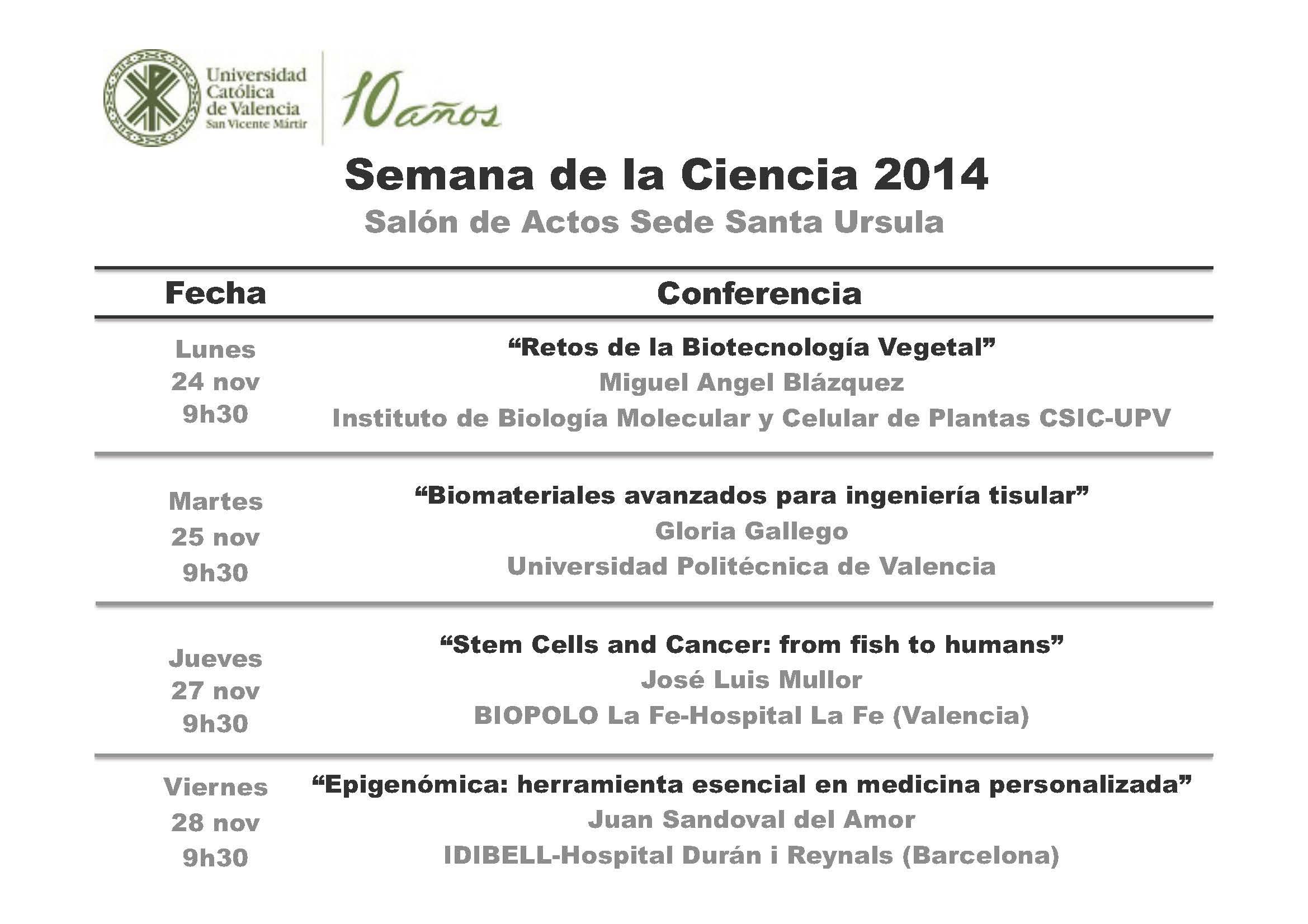 Cartel de la Semana de la Ciencia en la Universidad Católica de Valencia