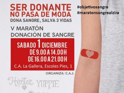 Cartel V Maratón de donación de sangre. Alzira